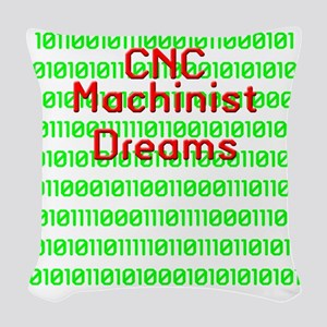funny cnc machinist Woven Throw Pillow