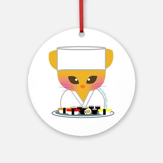 sushi chef cat Round Ornament