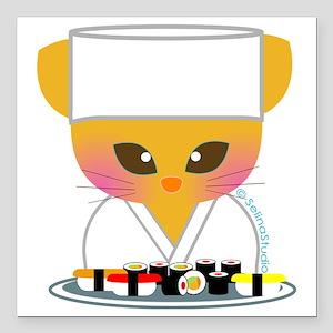 "sushi chef cat Square Car Magnet 3"" x 3"""