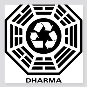 """dharmarecycle-01 Square Car Magnet 3"""" x 3"""""""