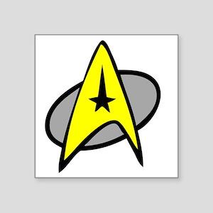 "StarTrek_Kirk_1_Yellow Square Sticker 3"" x 3"""
