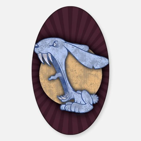 bunny-evil-blu-CRD Sticker (Oval)