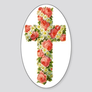 Floral Cross TRANS 54 Sticker (Oval)