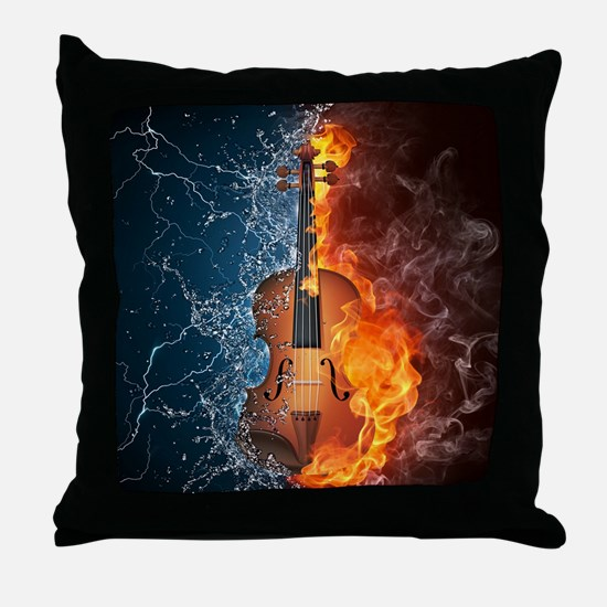 Fire and Water Violin Throw Pillow