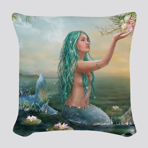 Marine Mermaid Woven Throw Pillow