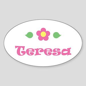 "Pink Daisy - ""Teresa"" Oval Sticker"