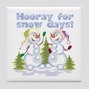 HOORAY for Snow Days! Tile Coaster