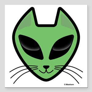 "AlienKitty Square Car Magnet 3"" x 3"""