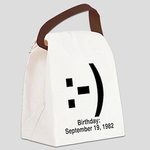 emoticon_birthday_blackcolor Canvas Lunch Bag