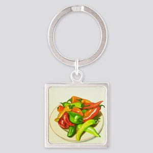 Chiles Square Keychain