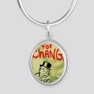 Looking for Change Silver Oval Necklace