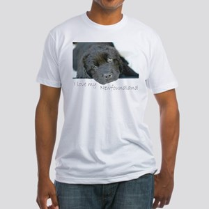 I love my Newfoundland puppy Fitted T-Shirt