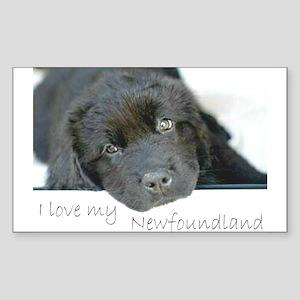 I love my Newfoundland puppy Rectangle Sticker