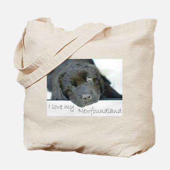 I love my Newfoundland puppy Tote Bag
