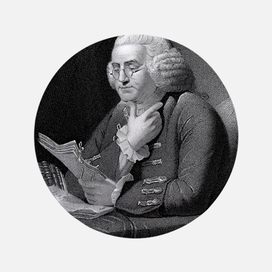 """Benjamin Franklin by TB Welch after Ma 3.5"""" Button"""