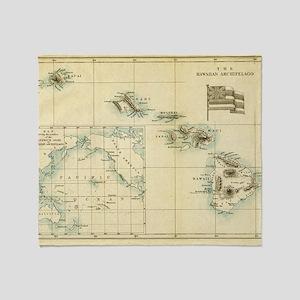 Map of Hawaii by London Longman  Co  Throw Blanket