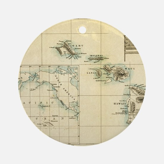 Map of Hawaii by London Longman  Co Round Ornament