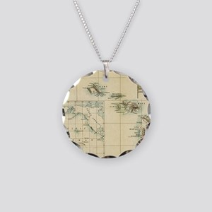 Map of Hawaii by London Long Necklace Circle Charm