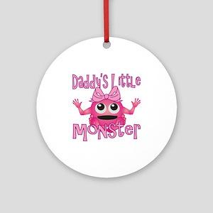 Girl Daddys Little Monster Round Ornament