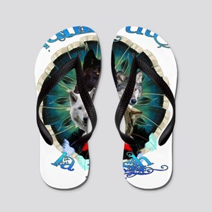 Wolf Pack Feather Circle Flip Flops