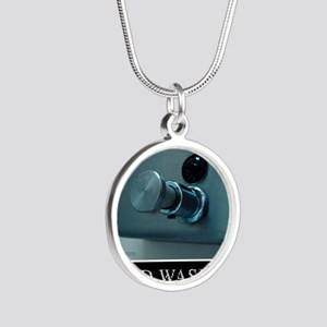 hand-washing-humor-infection Silver Round Necklace