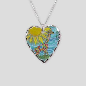 African Rainbow Necklace Heart Charm