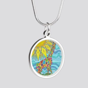 African Rainbow Silver Round Necklace