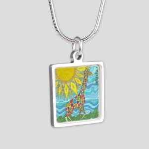 African Rainbow Silver Square Necklace