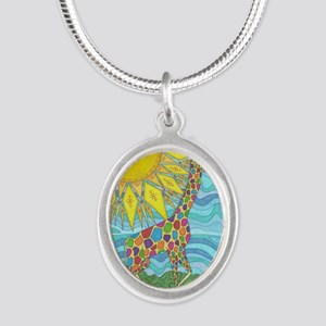 African Rainbow Silver Oval Necklace