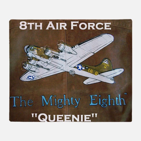 Queenie - 8th AF B-17 Throw Blanket