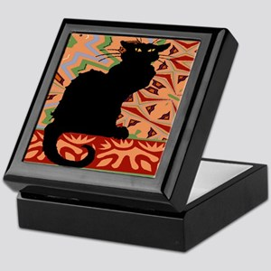 BlackCatAbstractWallPaper2Sq Keepsake Box