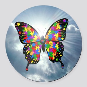 autismbutterfly - sky 6inch Round Car Magnet