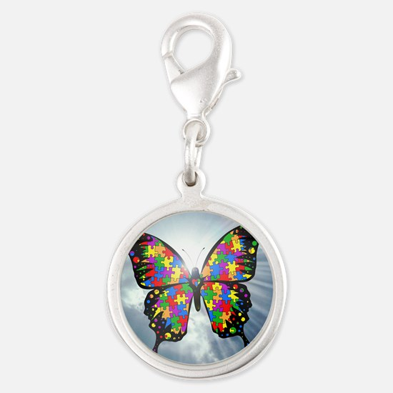 autismbutterfly - sky 6inch Silver Round Charm
