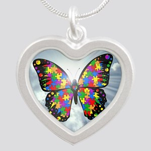 autismbutterfly - sky 6inch Silver Heart Necklace