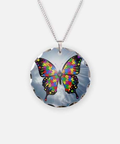 autismbutterfly - sky 6inch Necklace Circle Charm