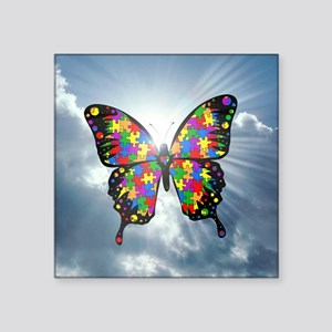 "autismbutterfly - sky 6inch Square Sticker 3"" x 3"""