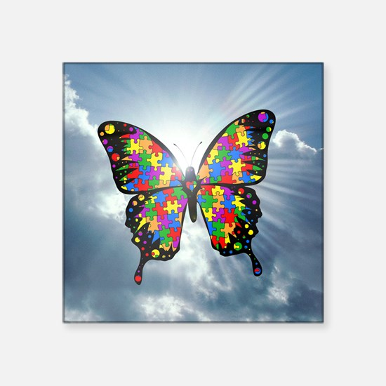 """autismbutterfly - sky 6inch Square Sticker 3"""" x 3"""""""
