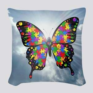 autismbutterfly - sky 6inch Woven Throw Pillow