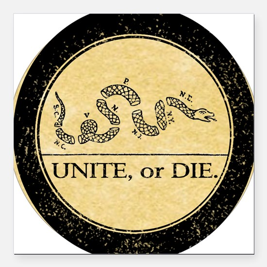 "2-unite or die button 4  Square Car Magnet 3"" x 3"""