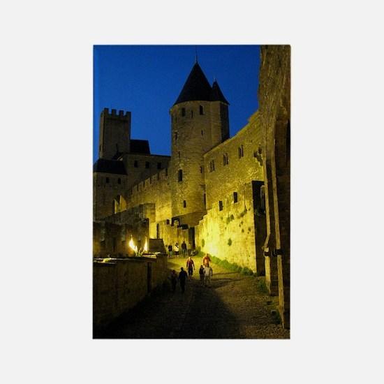 postcard carcassonne Evening Rectangle Magnet