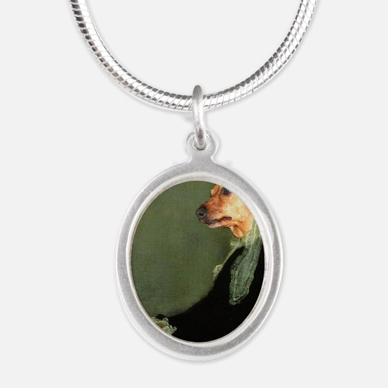 mother tiger16x16 Silver Oval Necklace