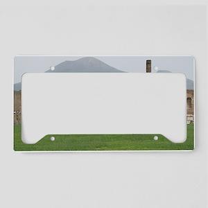 postcard pompei vesuvius License Plate Holder