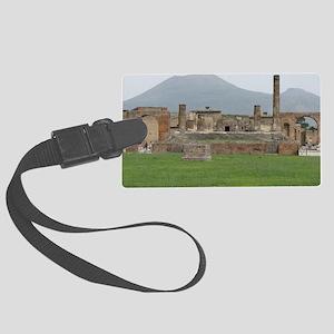 postcard pompei vesuvius Large Luggage Tag