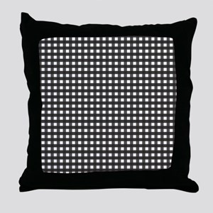 Black Gingham Pattern Throw Pillow