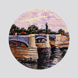 Van Gogh - The Seine with the Pont  Round Ornament
