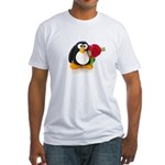 Clay Penguin with Rose Fitted T-Shirt