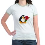 Clay Penguin with Rose Jr. Ringer T-Shirt