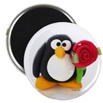 Clay Penguin with Rose 2.25