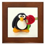 Clay Penguin with Rose Framed Tile