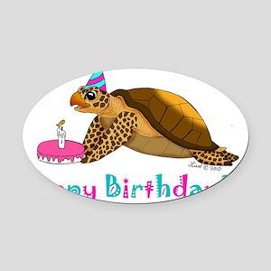 birthdayturtle 001 Oval Car Magnet